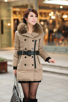 2013 winter new fashion women down coat and jacket with fur  high quality long style brand design thick warm high quality 0390