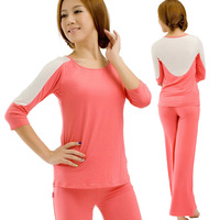 Free shipping  high quality   Brahma song and susceptance  cotton yoga clothes 2pcs a set  for  spring and summer twinset