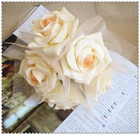 Romantic aesthetic tape yarn bountyless the bride wedding car bountyless home decoration flower of artificial faux leather