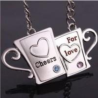 Wholesale 12pairs/lots High quality fashion Key chain cheers for love pendants couples Keychain Keyfob keyring metal keychain