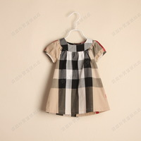 fashion three color plaid summer girl shortsleeve dress popular girl clothing children dress