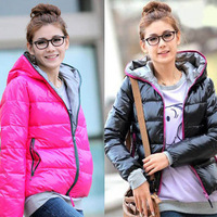 women's autumn and winter new arrival solid color long-sleeve zipper-up thickening thermal cotton-padded jacket shiny
