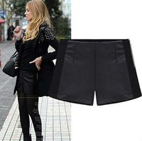 Size S M L XL Autumn New European Style Women All Match Slim Patchwork PU Leather Shorts Free Shipping LJ763