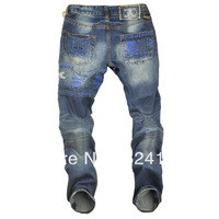 Free shipping 2013 autumn and winter men's jeans tide models on a single sub mastermind japan MMJ skull embroidery