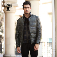 2013 male fashion casual fashionable men's clothing PU clothing jacket down coat