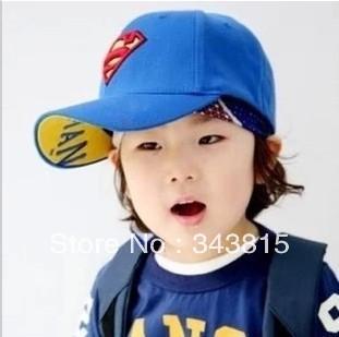 Super man baseball cap baby hat child cap bonnet male female child sun hat sunbonnet boy girl visors ball caps free shipping(China (Mainland))