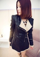 HOT! 2013 hot sell brand fashion women genuine leather jacket coat  women motorcycle jacket coat  M-L-XL
