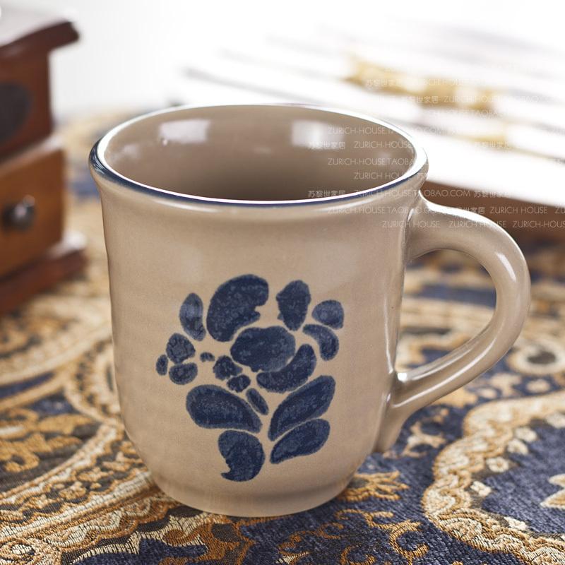 Western-style tableware ceramic tea set blue ink cup tea cup mug 0073(China (Mainland))