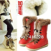 35-39 Hot 2013 sexy fur inside leather fashion ankle women flat woman snow boots and women winter shoes Free shipping y586