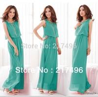 Women Summer Dress 2014 Chiffon Bohemian Dress Vestidos Casual Plus Size Tank Beach Dress Hot Ankle-Length Elegant Maxi dresses