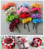 Paper Flowers ,Wedding decoration , Mini Rose Flower Hand Made Small Wedding Bouquet Scrapbooking Christmas Decor,Free Shipping