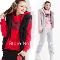 2013 autumn and winter outerwear women's casual plus size sports set sweatshirt piece set female plus velvet thickening