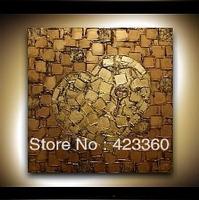 "HUGE Abstract 24""X24""Original Gold Bronze  'Key To Heart ' Textured Wall Art Pink Cherry Tree Modern abstract paintin"