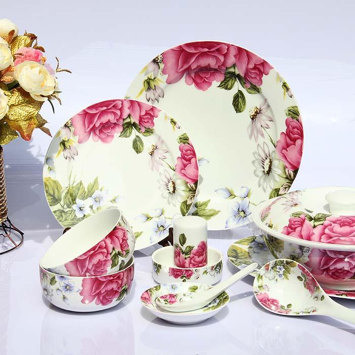 Ceramics 56 bone china dinnerware set red married housewarming gifts dishes(China (Mainland))