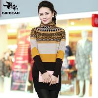 Autumn turtleneck women sweater long-sleeve stripe wool sweater mother clothing