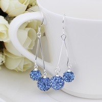 New Arrival!!Wholesale 925 Silver Earring,Double Disco Ball Bead,Crystal Shamballa Drop Earring,Fasion jewelry SBE167