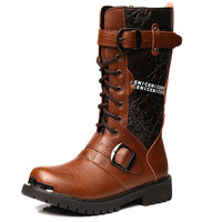 Free Shipping 2014 men's winter long boots male mid-calf tooling martin fashion boots black/brown free shipping