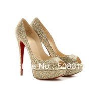 2013 Free shipping LADY PEEP Gold sequins shoes pump Red-soled shoes