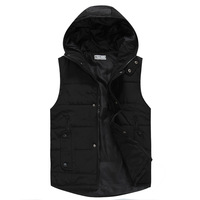 Hot-selling autumn and winter male slim solid color casual with a hood vest cotton lovers