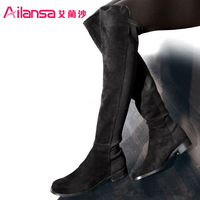 Fashion knee-length boots spring and autumn flat heel long boots genuine leather boots flat boots high-leg