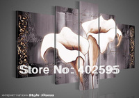 Free shipping 5 pcs black and white lily followes abstract oil painting on canvas modern 100% handmade original directly NEW 2