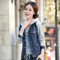 2012 autumn plus size female coat denim patchwork sports fashion preppy style casual short jacket