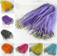 "MIC 100pcs Mixed Color Organza Voile Ribbon Cord Necklace 18"" Jewelry DIY  (a0515)"