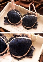 V12m giccoco embroidery lace sexy underwear set bar young girl push up flower briefs
