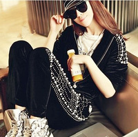 2013 autumn and winter women gold velvet sports set casual black pearl handmade luxury