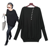 Free Shipping 2014 New Fall Fashion Batwing Full T-shirt  Plus Size Knitwear Shirt M,L,XL RG13106014