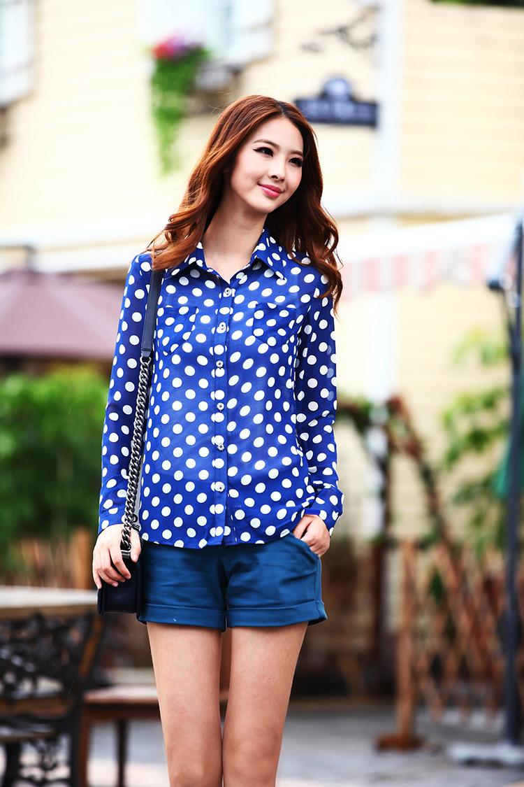 Blue Polka Dot Shirt Womens Polka Dot Women t Shirt