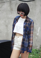 Single beautiful chiffon plaid shirt