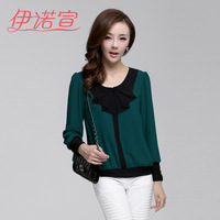 Unfractionated 2013 autumn women's top women's chiffon shirt long-sleeve loose pullover o-neck top 0615