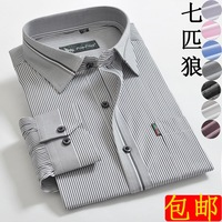 Septwolves men's clothing 100% cotton long-sleeve shirt easy care anti-wrinkle casual stripe shirt male autumn