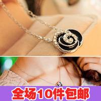 2901 accessories black flower diamond necklace female