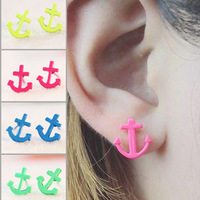 2035 small accessories candy color anchor solid color women's alloy stud earring earrings jewelry earring