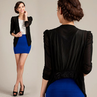 2013 summer gentlewomen thin long-sleeve plus size cape outerwear short-sleeve cutout solid color small cardigan