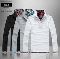 2013 autumn slim casual male faux two piece T-shirt 100% long-sleeve cotton shirt collar male