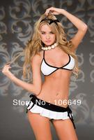 sexy lingerie white&black silk bra+dress+g string 3pcs set sleepwear underwear costume kimono uniform