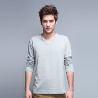 Autumn male V-neck long-sleeve T-shirt lycra cotton male t-shirt solid color V collar basic shirt