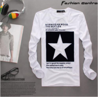 Five-pointed star printing 100% flock print cotton t-shirt male autumn and winter all-match male T-shirt o-neck long-sleeve