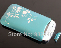 Blue Flower Pull TAB Bag Pouch Case For Samsung Galaxy SIII S3 Mini i8190 Free Shipping + Screen
