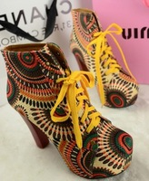 Year 2013 Jeffrey Campbell  Sunflower  Platform PU High Heel Motorcycle Boots Woman Martin Boots  Winter shoes EU35-40 #w5001