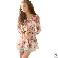 Hot sale 2013 female rose bud silk round neck long sleeve render unlined upper garment of cultivate one's morality