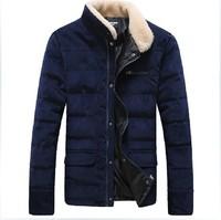 2014 winter new men fashion plus size down jacket male stand fur collar warm slim coat outwear hot sale MW1653