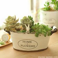 Zaa interaural home oval shape antique retro finishing ceramic flower pot zakka succulents flower