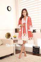 Winter coral fleece cartoon rabbit robe nightgown female lounge sleepwear bathrobes set 51058