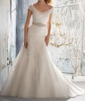 Very Elegant Organza Applique White/ivory Mermaid/Trumpet Wedding Dress