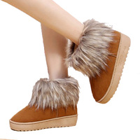 New Fashion Women Thick Winter Boots Snow Boots Ankle Faux Fox Fur Shoes GSH-00354