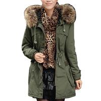 New Removable Fake Raccoon Fur Collar Long Jacket Hooded Coat Parka Warm Parkas WF-52339